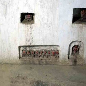Dashavataar and other images incorporated in a wall.