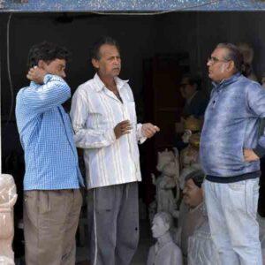 L-R; Ravindra Nath Gaur, Suresh Lal Gaur and Vipin Kumar (senior artist, Delhi) in front of Sangeeta Murti Kala Kendra, Patharkatti, Gaya, Bihar.