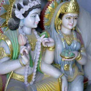 Images of Krishna and Radha (white marble) in a workshop, Patharkatti, Gaya, Bihar.