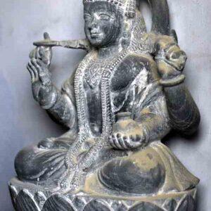 Image of Goddess Laxmi (unfinished) in black stone, Patharkatti, Gaya, Bihar