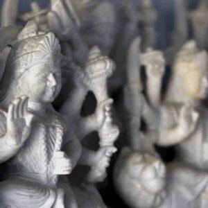 Small images of Goddess Durga (white marble) in a workshop, Patharkatti, Gaya, Bihar.