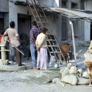 A small workshop of stone carver in the village, lack of space and proper storage.