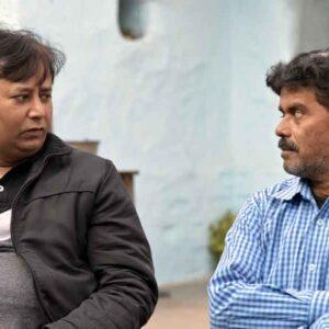 L-R: Sunil Kumar, Folkartopedia with Senior artist Ravindranath Gaur, Patharkatti, Gaya, Bihar