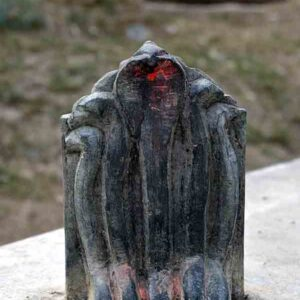 Idol of 'Shesh Naag' established on the entrance of Gaur Brahmins stone carvers village.