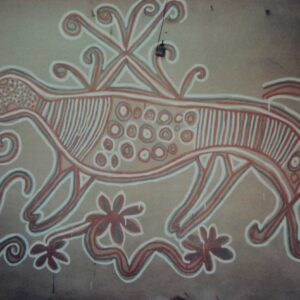 Sohrai painting on wall, Bhelwara, Hazaribagh, Jharkhand. Img 2, 1994 or 1995
