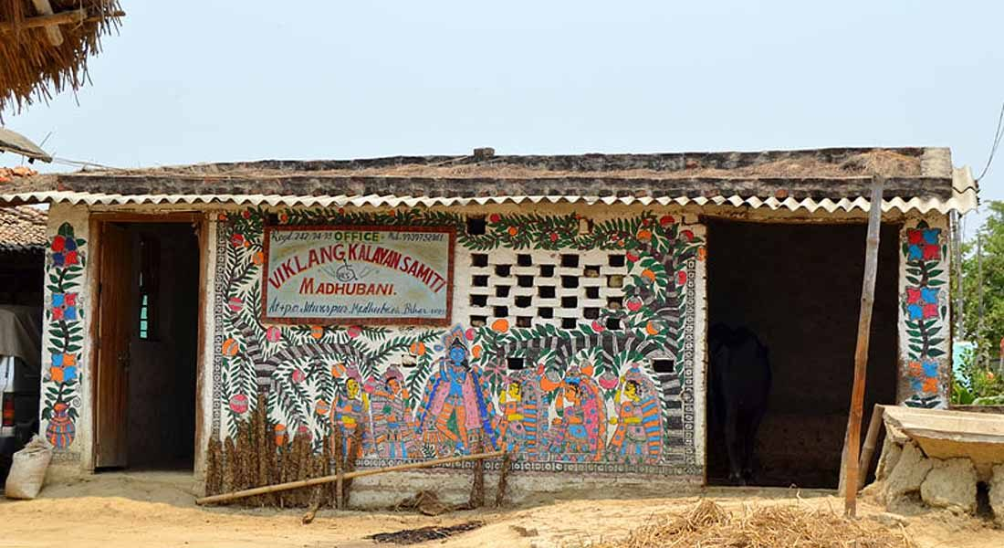 Mithila painting on wall, Madhubani, BIhar. Courtesy: dsource.in