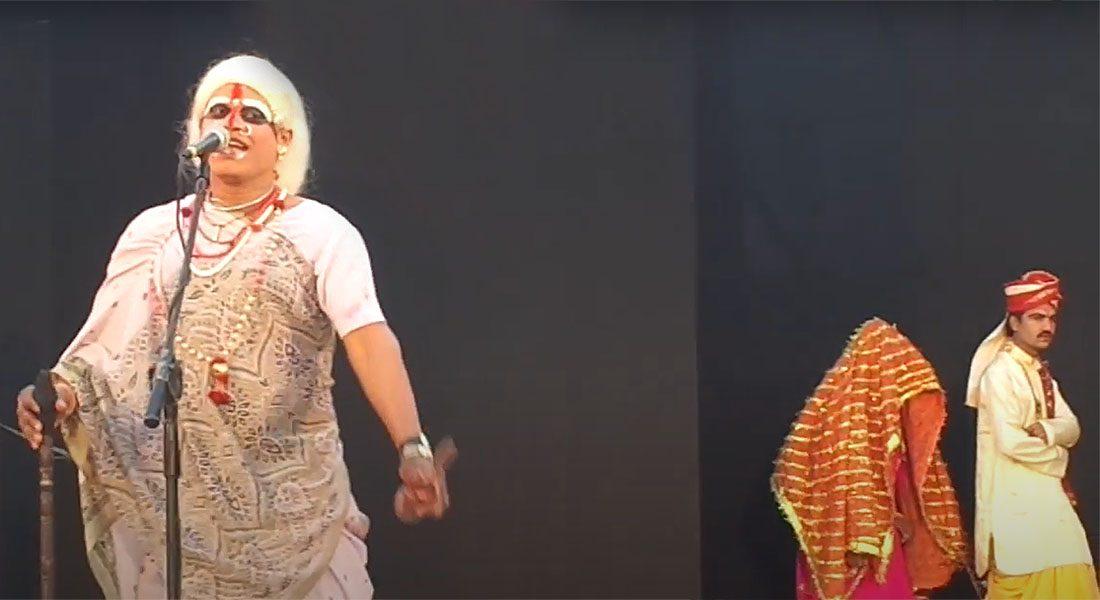 A scene from folk theatre Bohura Godhani and Netua Dayal Singh, Bihar.