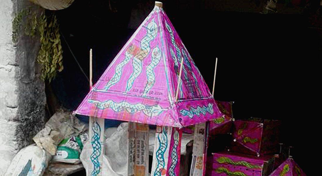 Maali art on a temple shaped box for the offering in Vishahari pooja, Bihar