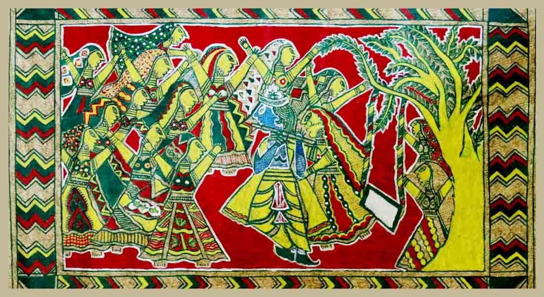 Manjusha painting by Kala Guru Shri Manoj Pandit, Bhagalpur, Bihar, 2015 © Folkartopedia library