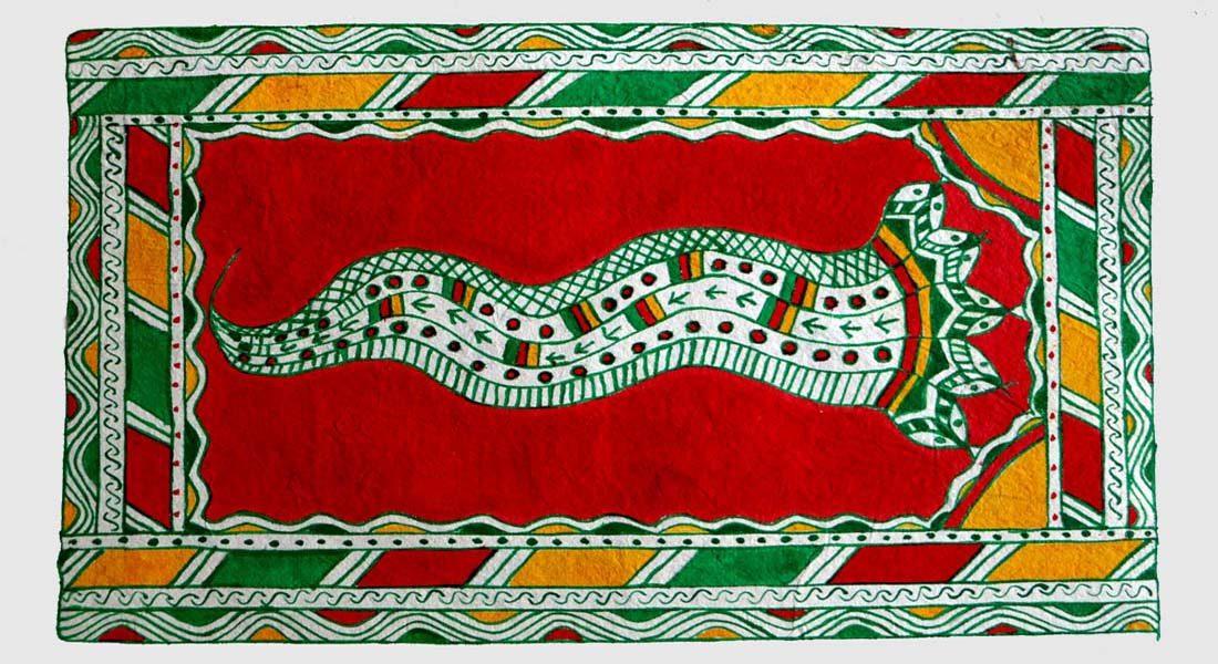 Manjusha painting by Manjusha Guru Manoj Pandit, Bhagalpur, Bihar @ Folkartopedia library