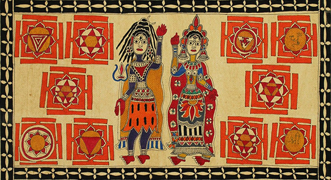 Depiction of Yantra in Tantra painting, Mithila. (parts of painting, source: sarmaya.in)