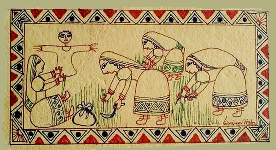 कलाकार संजीव सिन्हा की कलाकृति में लोक जीवन, चित्र: राकेश कुमार दिवाकर