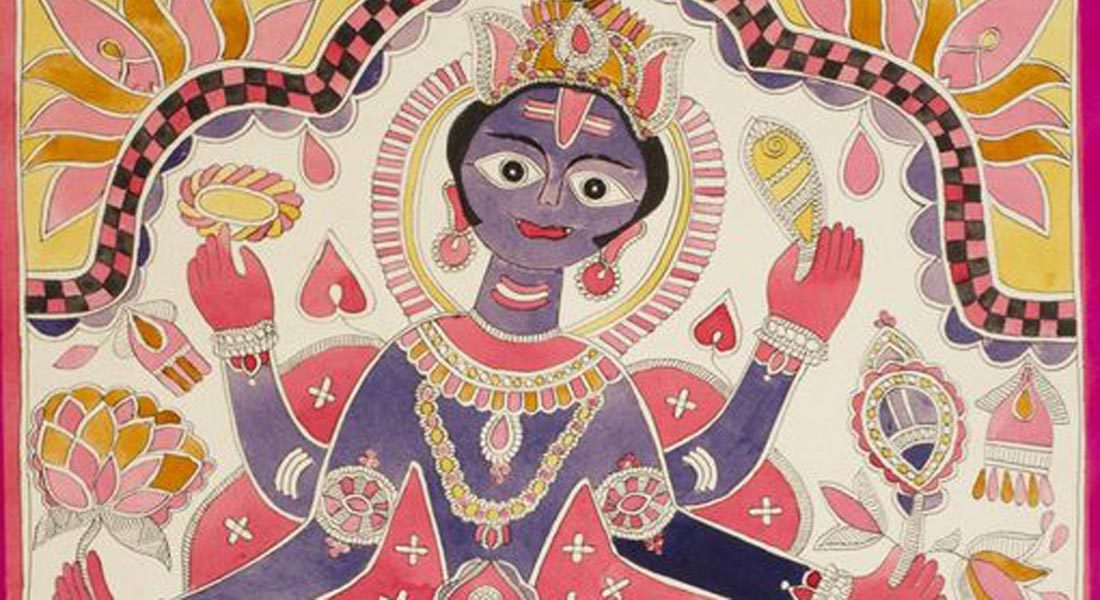 Kurmavatara (Vishnu's Incarnation as a Tortoise, Part of painting) Artist: Sita Devi. Source: Philadelphia Museum of Art_South Asian Art