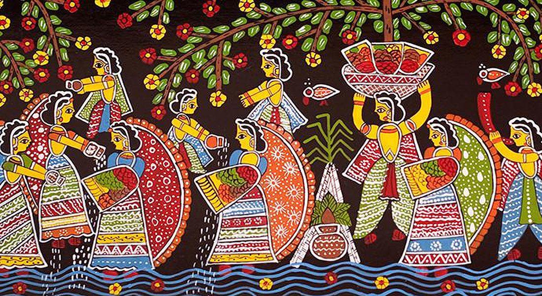 An artwork of Tikuli painting, Patna, Bihar.