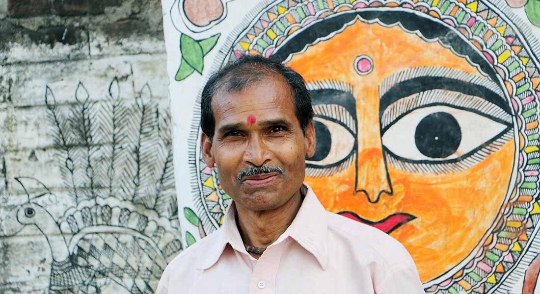 Godna artist Uttam Prasad Paswan, Jitwarpur, Madhubani,  BIhar, 2015 @Folkartopedia