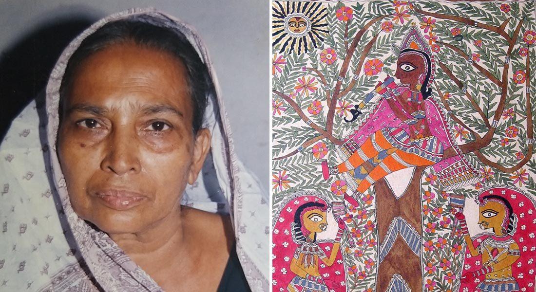 Yashoda Devi (L), Mithila painter. Image credit: Vinay Kumar, Canvas, Patna