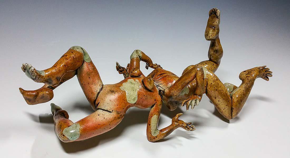 Fighting Yourself, Ceramic artwork by C.A.Traen, Memphis, USA. Image credit: Artist studio