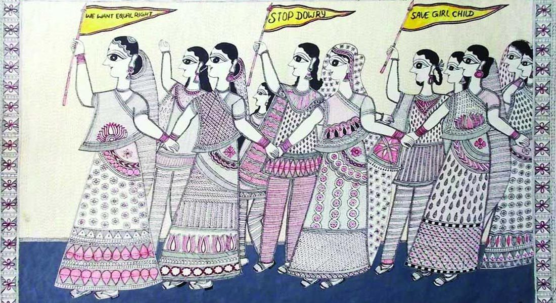 Mithila painting on contemporary issues