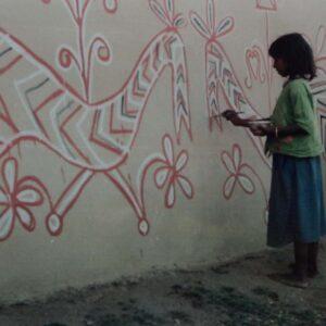 Children Sohrai painting, vill. Bhelwara, Hazaribagh, Jharkhand, 1995