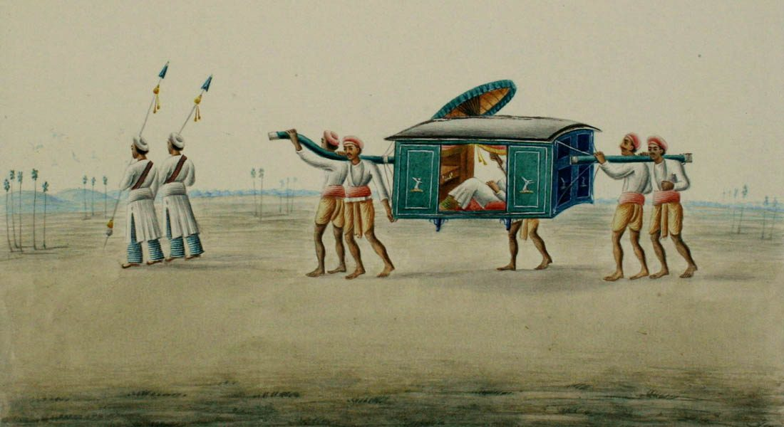 Palanquin by Shiva Lal (1817-1887), Patna Kalam, Patna, Bihar.