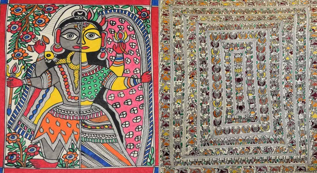 Caste influence on Mithila painting, Image left: A common Mithila painting, Right: Goidna painting