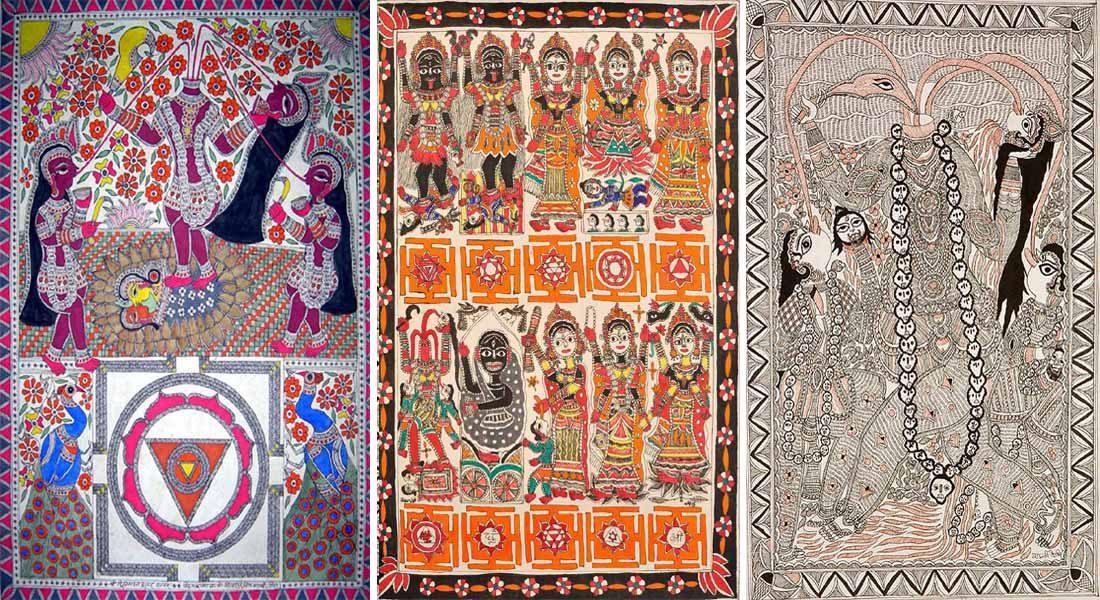 Depiction of Chhinnmastika and Das Mahavidya in Mithila painting. Source: Open.