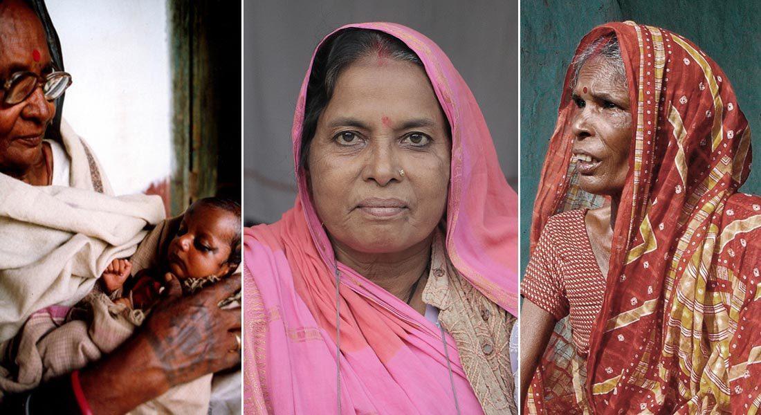 Legends in Mithila folk painting, L-R: Yamuda Devi, Shanti Devi and Chano Devi