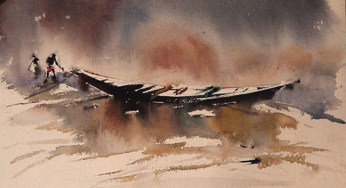 Boat, a painting by artist Subrata Gosh, water color on paper