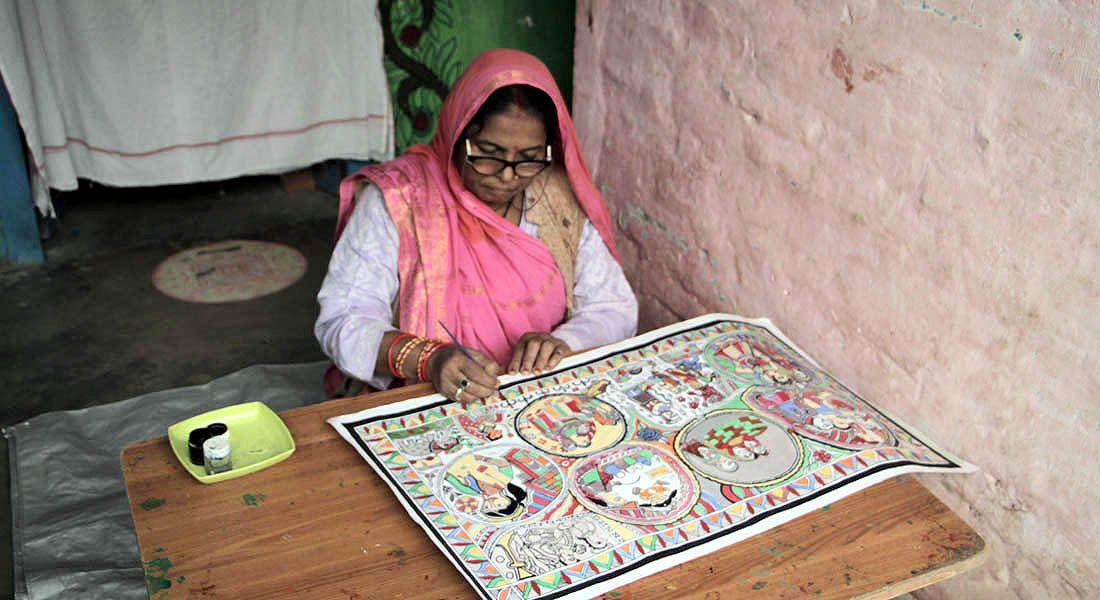 Shanti Devi, Master artist, Mithila painting, Lahariaganj, Madhubani, Bihar, 2018 ©Folkartopedia
