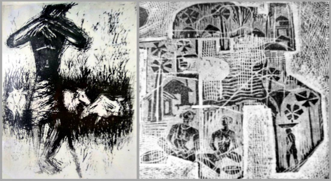 Prints by Padma Shri Shyam Sharma, 1966 (during diploma year) Photo credit: JK Agarwal