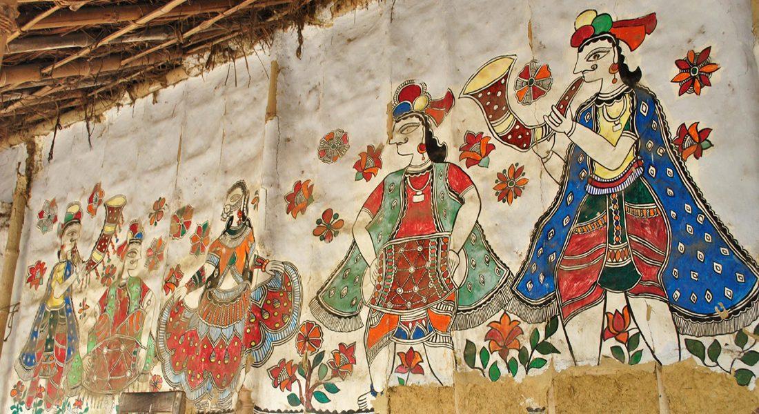 Traditional Madhubani Painting on the wall, House of Padma Shri Mahasundari Devi, Ranti