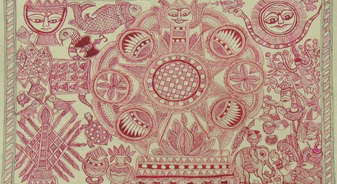 Kobhar by senior artist of Bihar Lalita Devi (Simri, Madhubani).